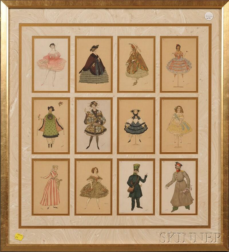 After Leon Bakst (Russian, 1866-1924)      Postcards of Ballet Costumes for  La Fée des Poupées