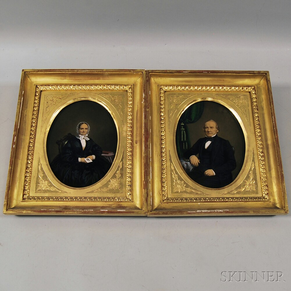 Pair of c, 1860s Hand-painted Albumen Photographs of a Man and Woman