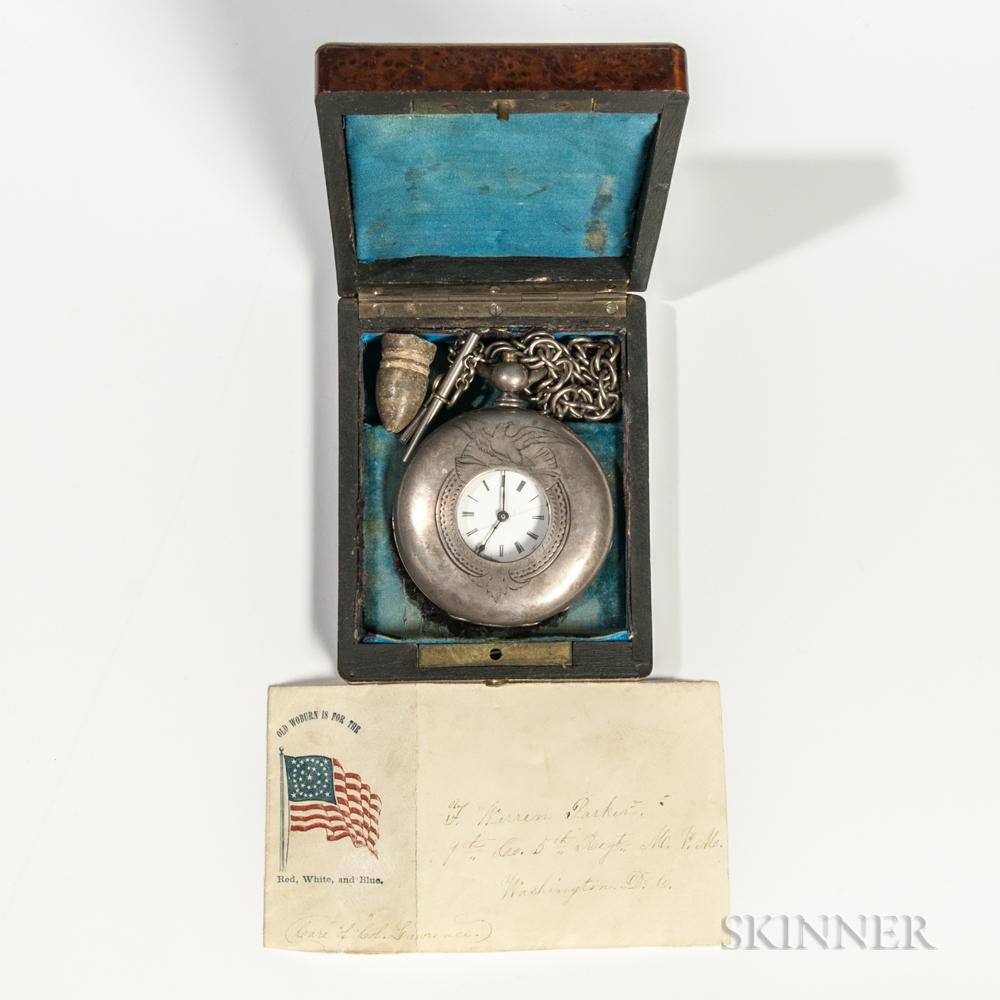 Pocket Watch Identified to Warren F. Parker, 5th Massachusetts Volunteer Militia