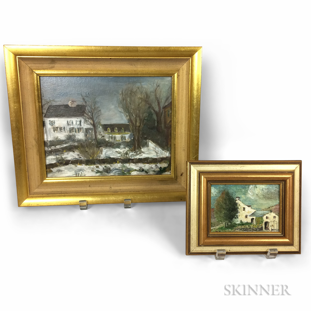 Two Framed Edward Fisher (American, 20th Century) Oils of Homesteads