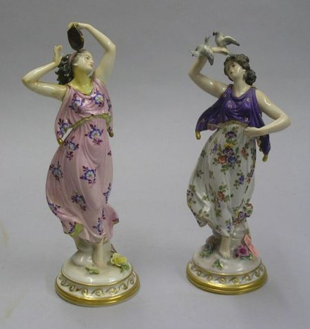 Pair of Continental Hand-painted Porcelain Dancing Maiden Figures