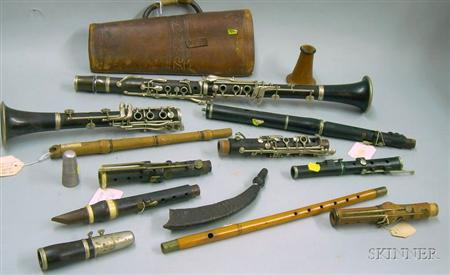Two Buffet Crampon & Co., Paris, Wood Partial Clarinets, Clarinet Parts, a Firth, Hall, & Pond, Franklin Sq., N...