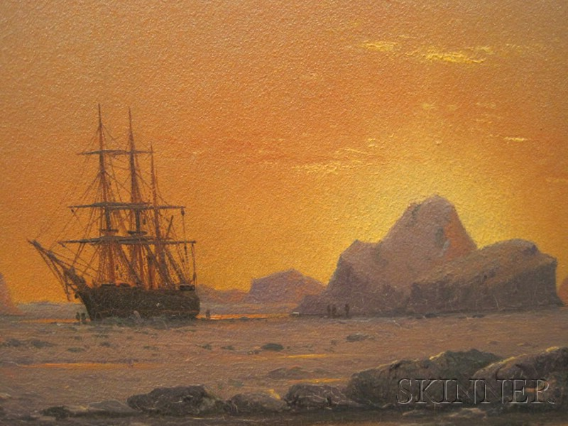 William Bradford (American, 1823 - 1892)      Arctic Sunset with the Ice Bound  Panther.