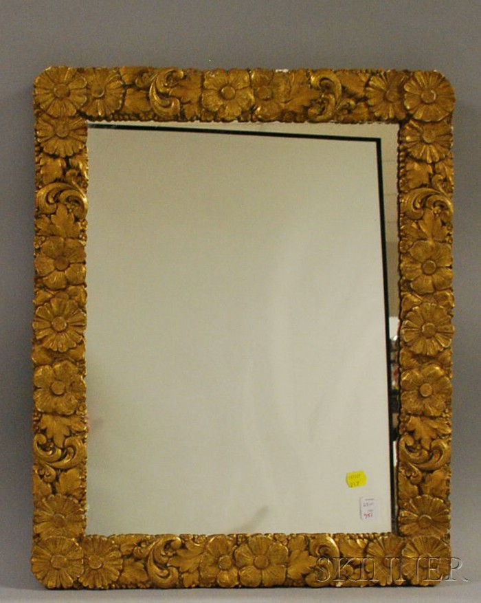 Aesthetic Gilt-gesso Floral and Scroll Decorated Framed Mirror