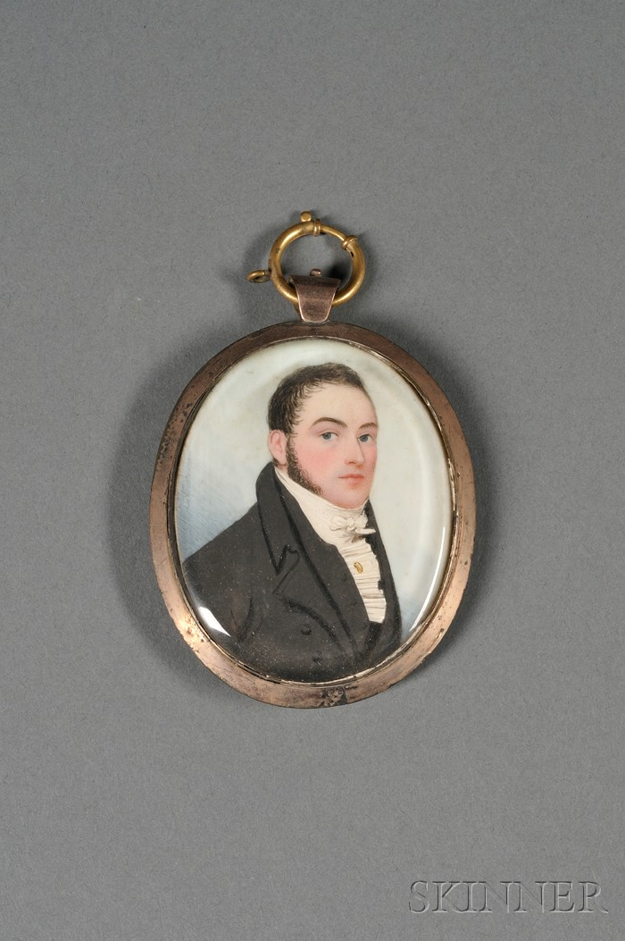 English Portrait Miniature on Ivory of a Young Gentleman