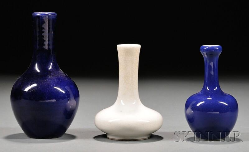 Three Monochrome Bottle Vases