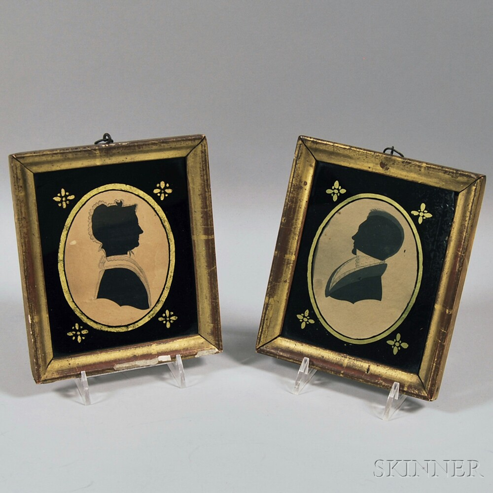 Pair of Framed Silhouettes of a Man and a Woman