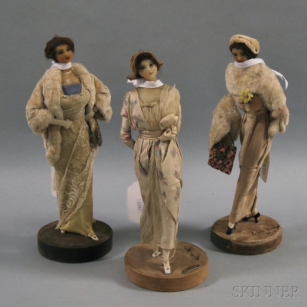 Three Lafitte-Desirat Wax Fashion Dolls, France
