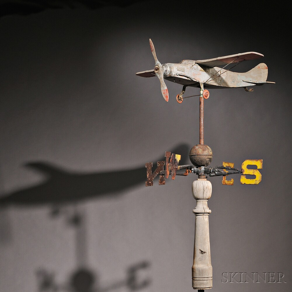 Carved and Painted Wooden Airplane Weathervane on Stand