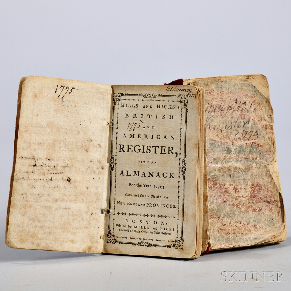 Quincy, Edmund (1703-1788) Two Copies of Mills and Hicks's British and American Register with Almanack for the Year 1774   [and] 1775.