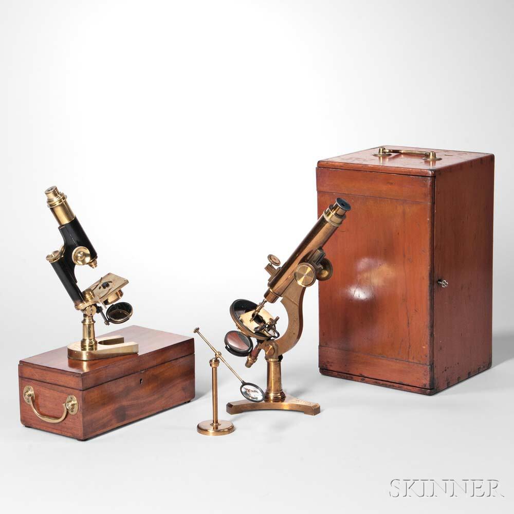 Two  R.J. Beck Monocular Microscopes