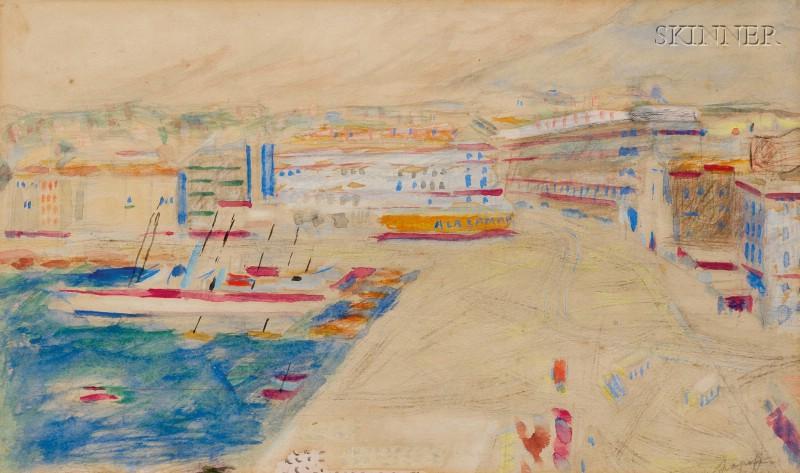 Alexis Pavlovich Arapoff  (Russian, 1904-1948)      Harbor Scene, Marseilles, France
