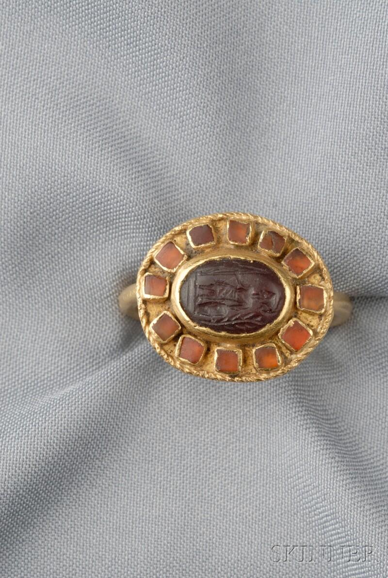 Ancient Roman Gold and Garnet Intaglio Ring