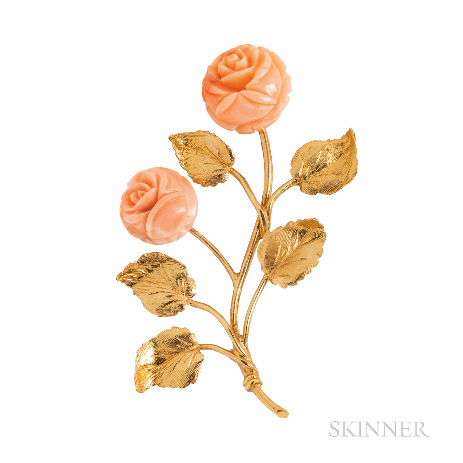 18kt Gold and Coral Flower Brooch