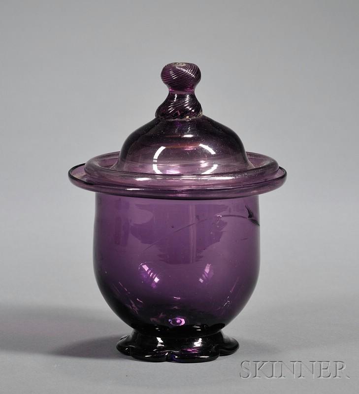 Amethyst Blown Glass Covered Sugar Bowl