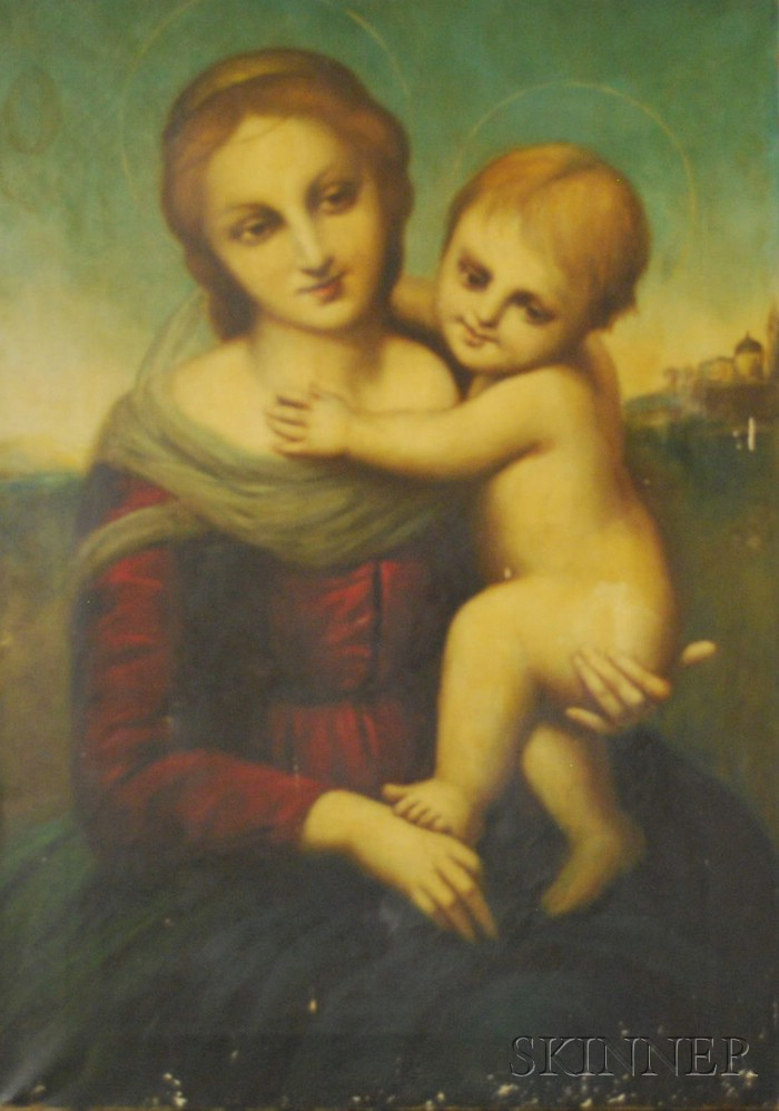 Unframed Oil on Canvas Madonna and Child After Raphael