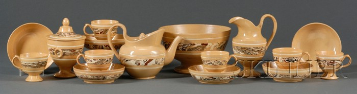 Rare Eighteen-Piece Mocha Dipped-Ware Tea Set