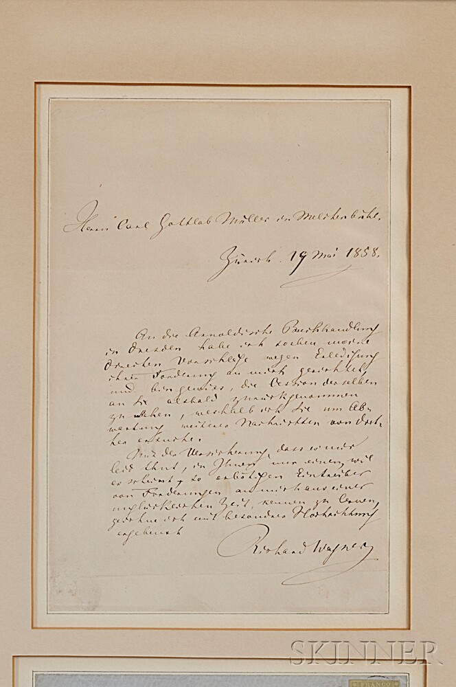 Wagner, Richard (1813-1883) Autograph Letter Signed, and Holograph Envelope, 19 May 1858.