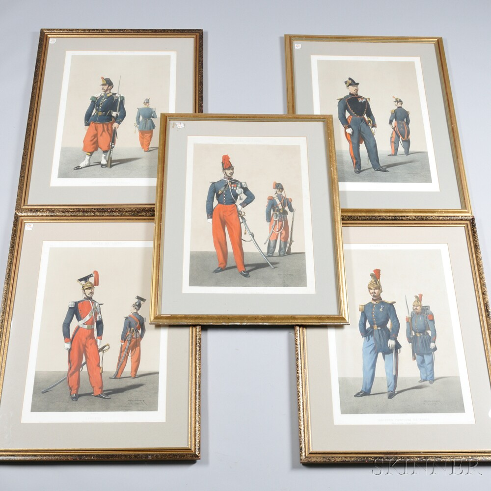Nine French Military Soldier Lithographs