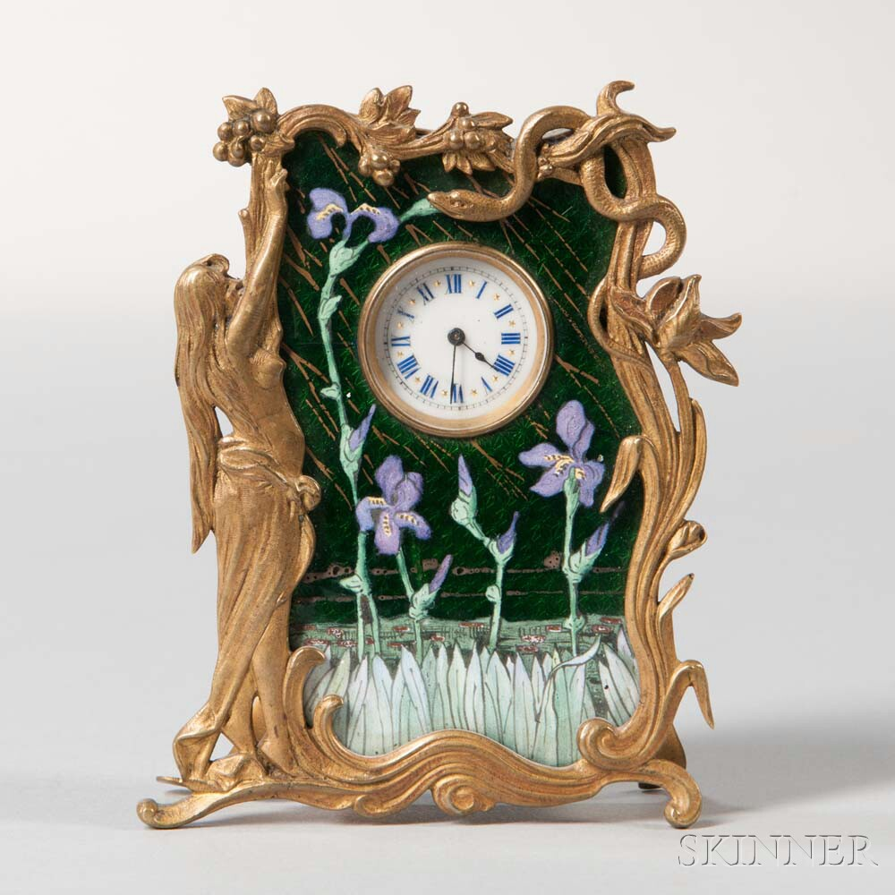 French Brass and Enamel Art Nouveau Travel Clock