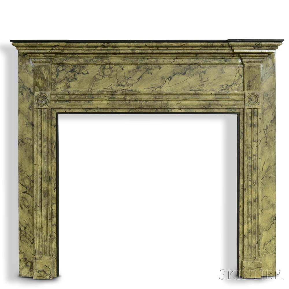 Marbleized and Carved Pine Mantel