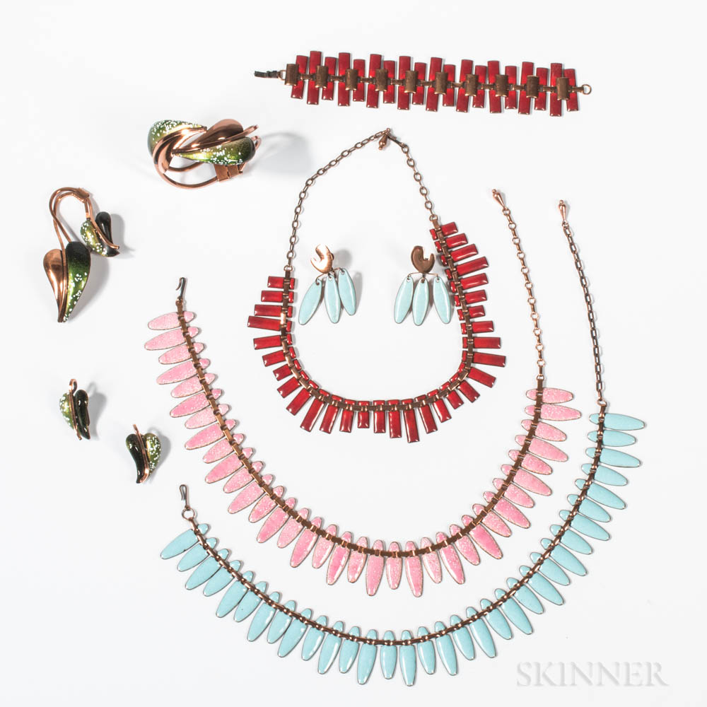 Group of Enameled Copper Jewelry