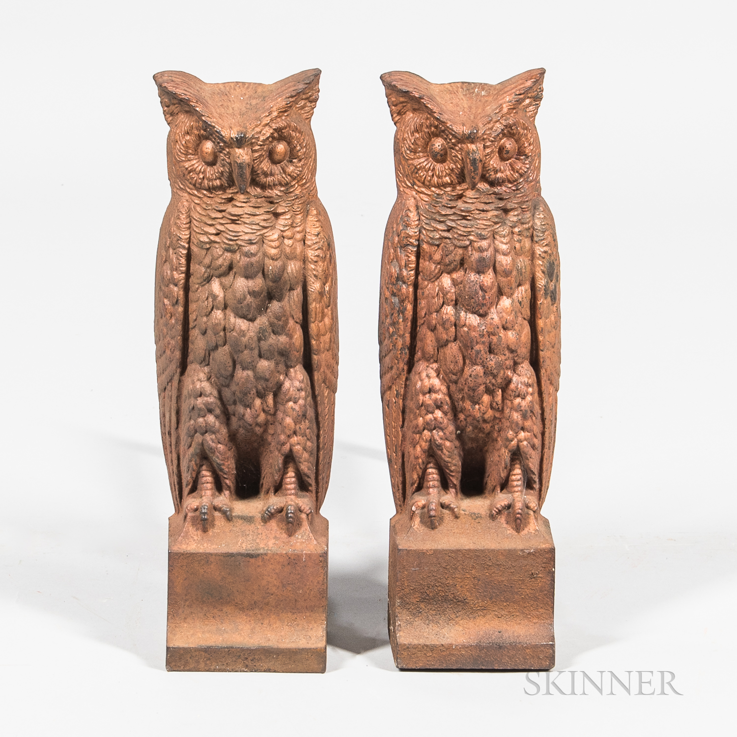 Pair of Bronze-painted Cast Iron Owl Andirons