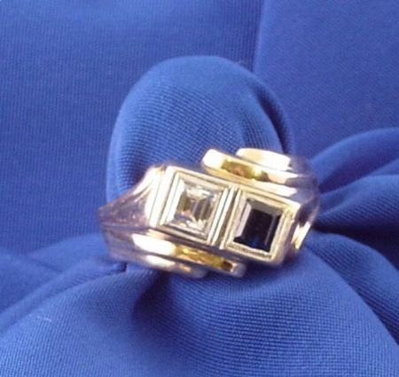 10kt Yellow Gold, Diamond, and Sapphire Ring