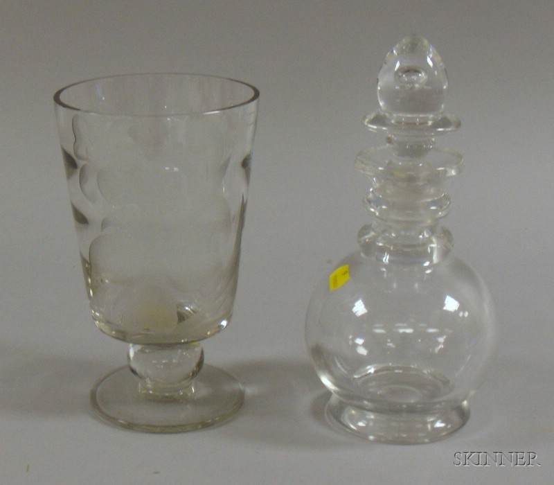 Colorless Glass Decanter and a Franz Grosz Etched Colorless Glass Footed Vase
