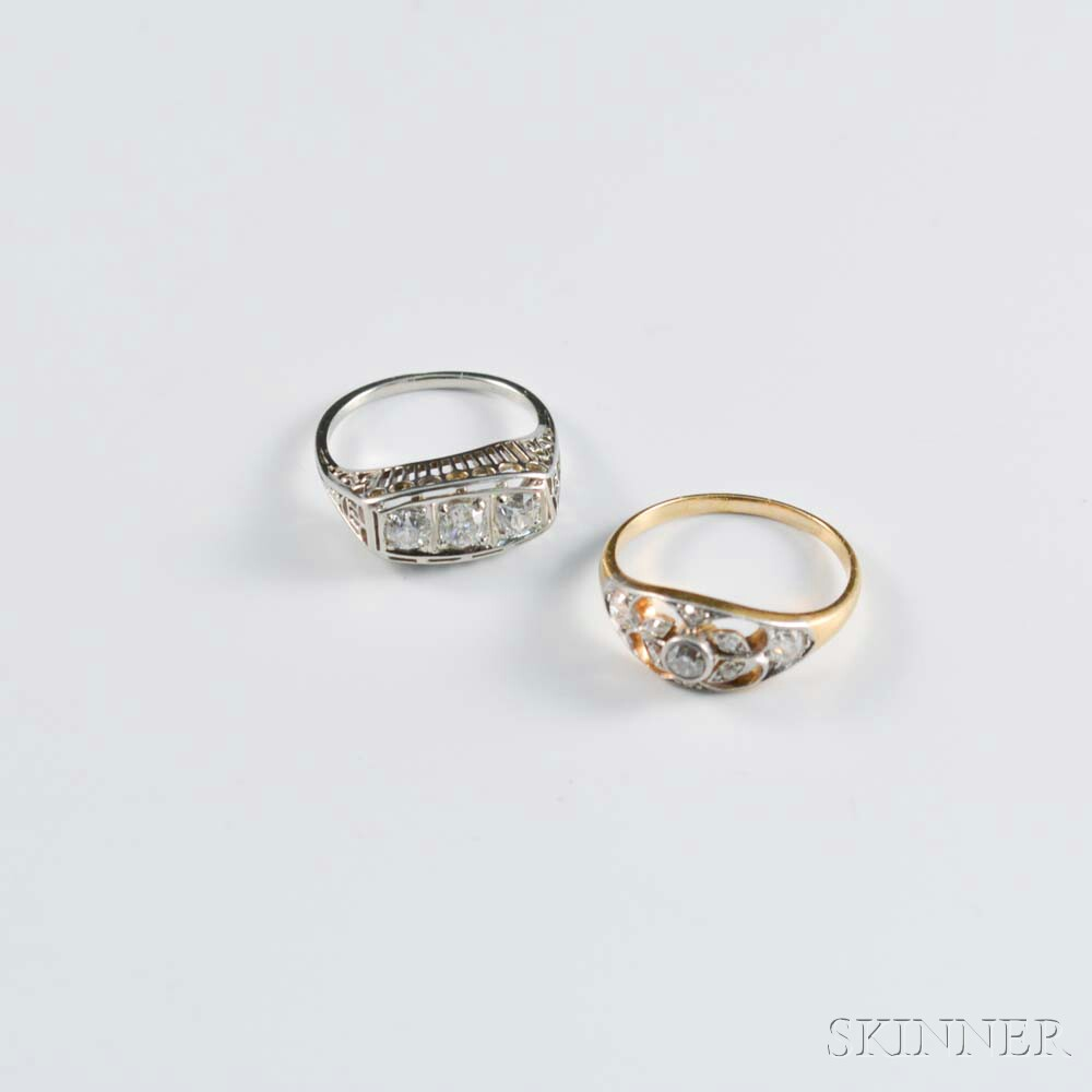 Two 18kt Gold and Diamond Rings