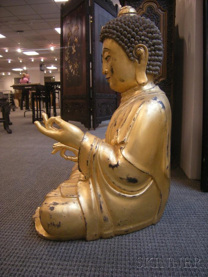 Two Giltwood Figures of Amida Buddha