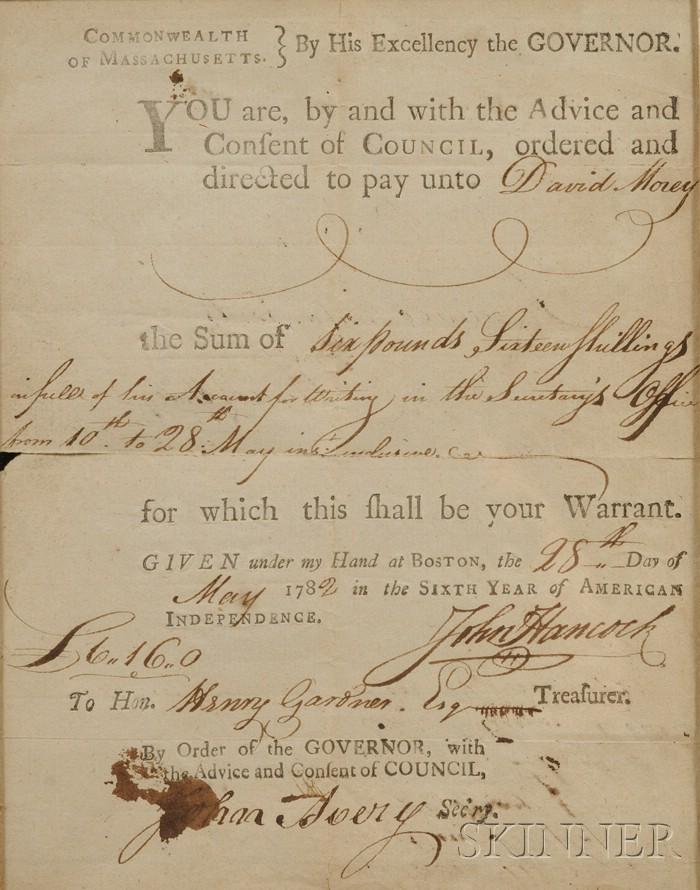 Framed Pay Warrant to Henry Gardner Signed by John Hancock, Governor of Massachusett   s