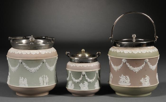 Three Wedgwood Three-color Jasper Dip Jars