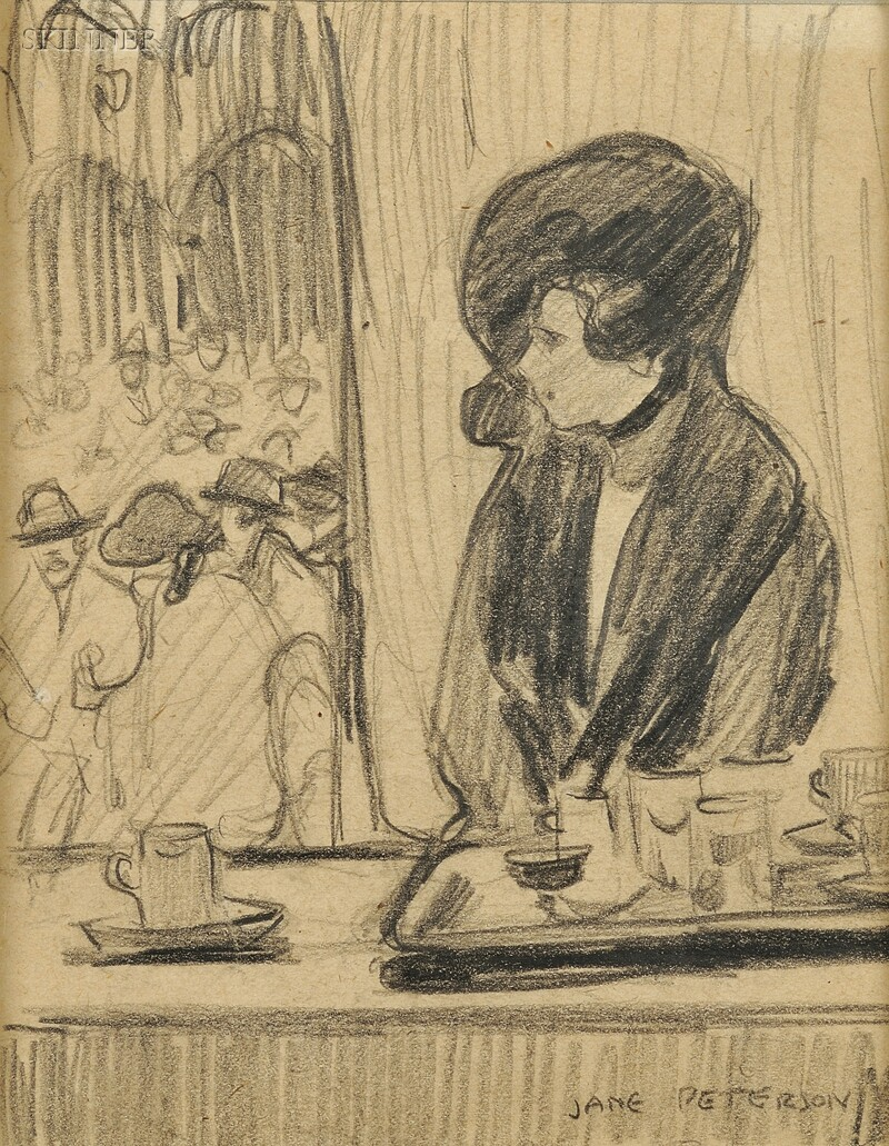 Jane Peterson (American, 1876-1965)      Sketch of a Woman in a Cafe