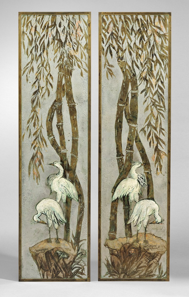 Two Philip and Kelvin Laverne Bronze Crane Decorated Wall Plaques