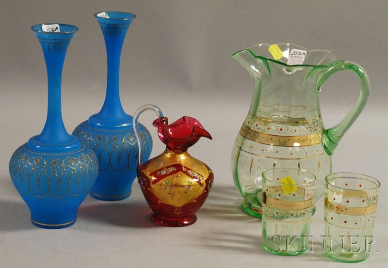 Six Late Victorian Enamel-decorated Colored Art Glass Articles
