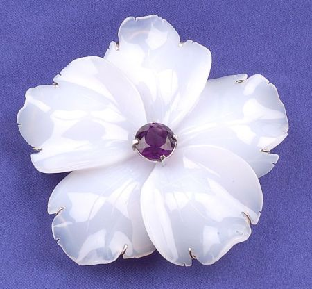 Carved Lavender Chalcedony and Amethyst Flower Brooch