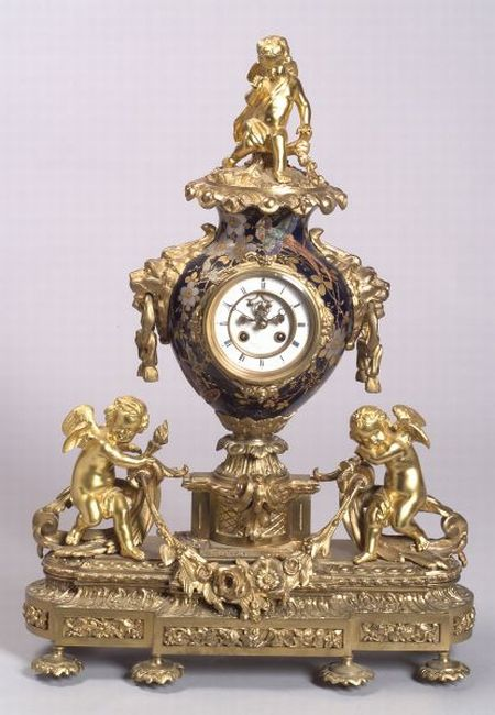 French Louis XV/XVI-style Gilt Bronze and Porcelain Clock