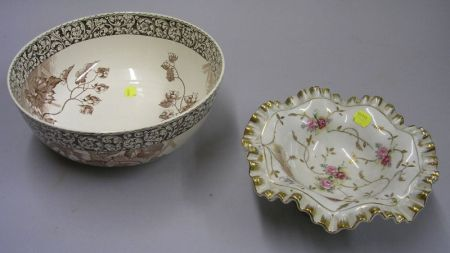 Doulton Burslem Hop Pattern Transfer Decorated Bowl and a Continental Gilt and Hand-painted Porcelain Compote.