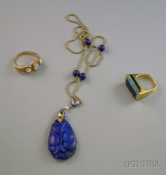 14kt Gold and Lapis Necklace, a 14kt Gold, Onyx, Diamond, and Opal Ring, and a Gold and Opal Ring.