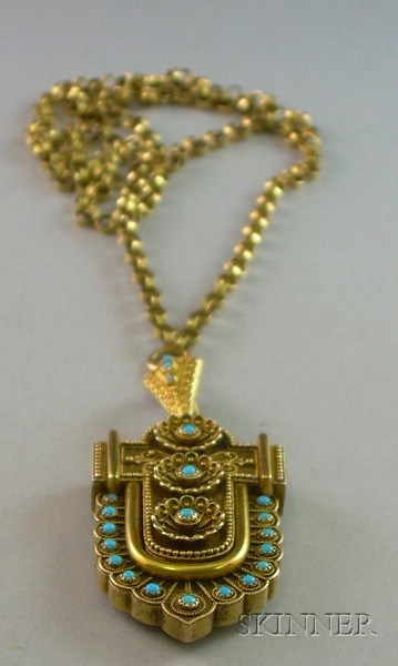 Antique 14kt Gold and Turquoise Pendant
