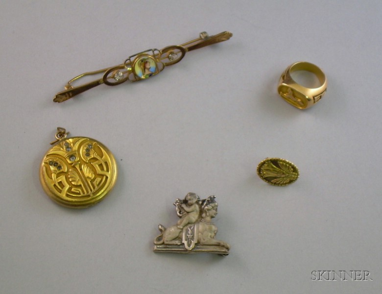 Five Pieces of Egyptian Revival Jewelry