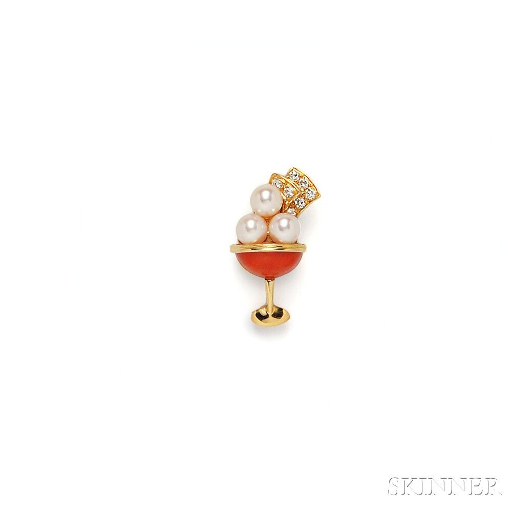 18kt Gold, Coral, and Cultured Pearl Brooch, Van Cleef & Arpels
