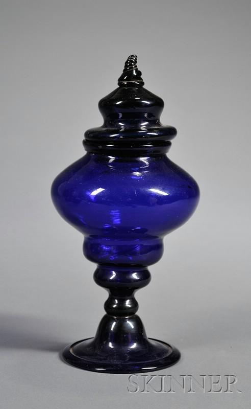 Cobalt Blue Covered Blown Glass Jar