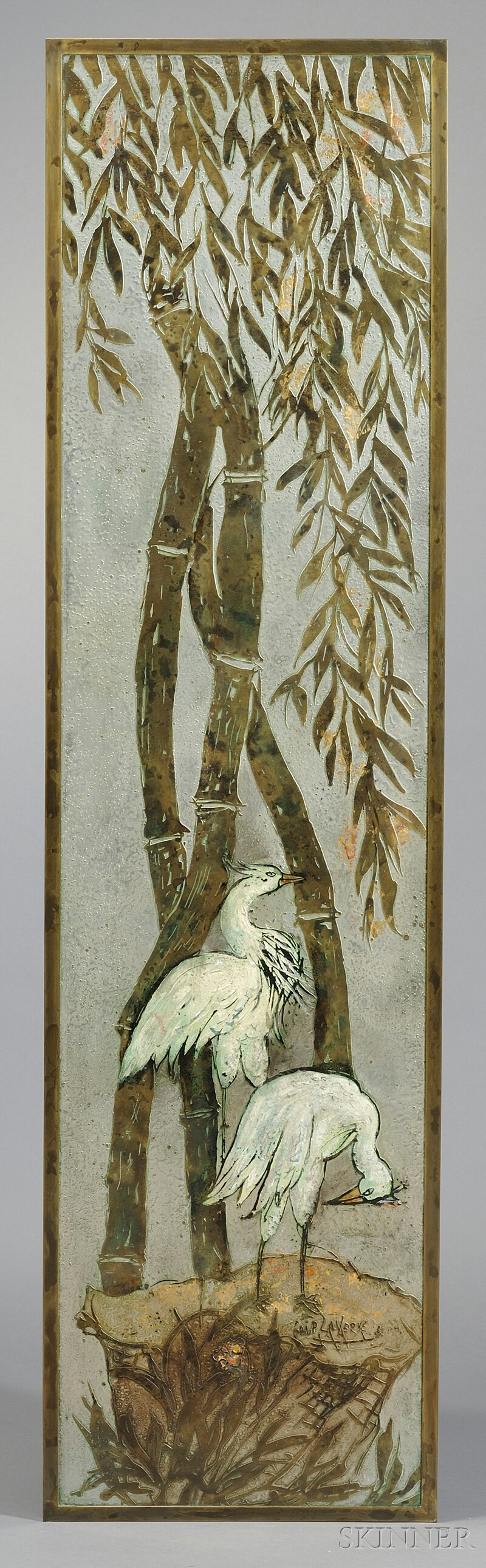 Philip and Kelvin Laverne Bronze Crane Decorated Wall Plaque