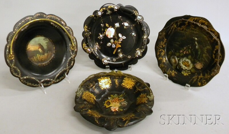 Four Gilt and Mother-of-pearl-inlaid Black Lacquered Papier-mache Trays and Bowls