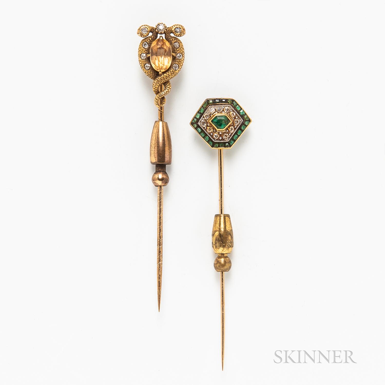 Two Antique 14kt Gold Stickpins