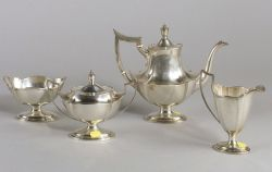 """Gorham Sterling  Four-piece """"Plymouth"""" Pattern Tea Service"""