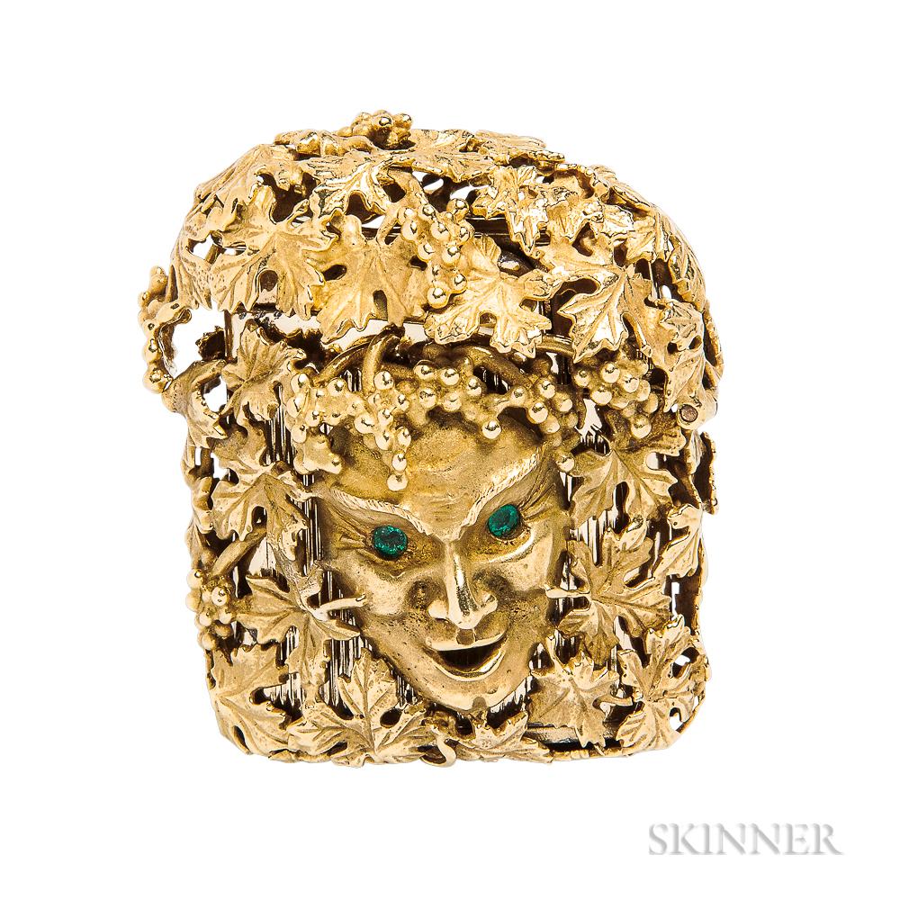 18kt Gold and Emerald Lighter Case, James Schwabe for Cartier
