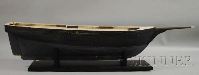 Black-painted Wood Boat Hull Model